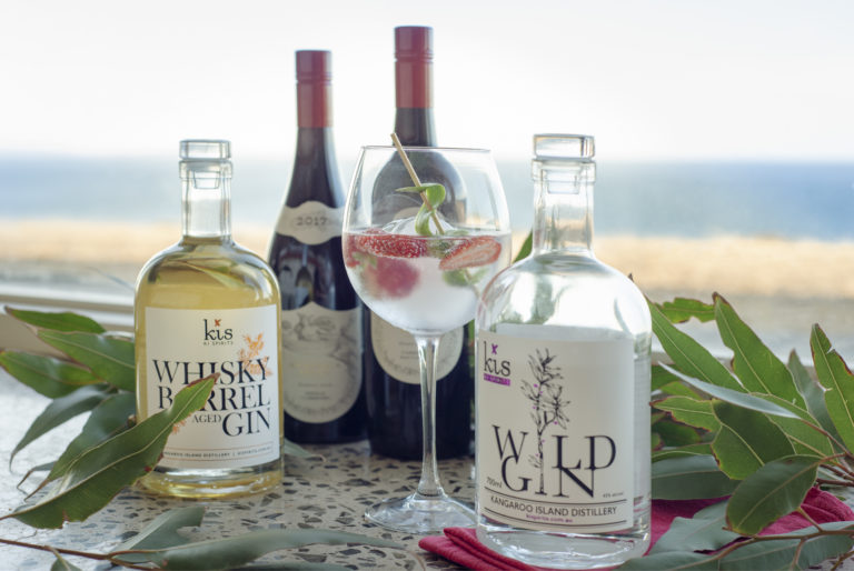 Kangaroo Island gin and wine served at Oceanview Eco Villas