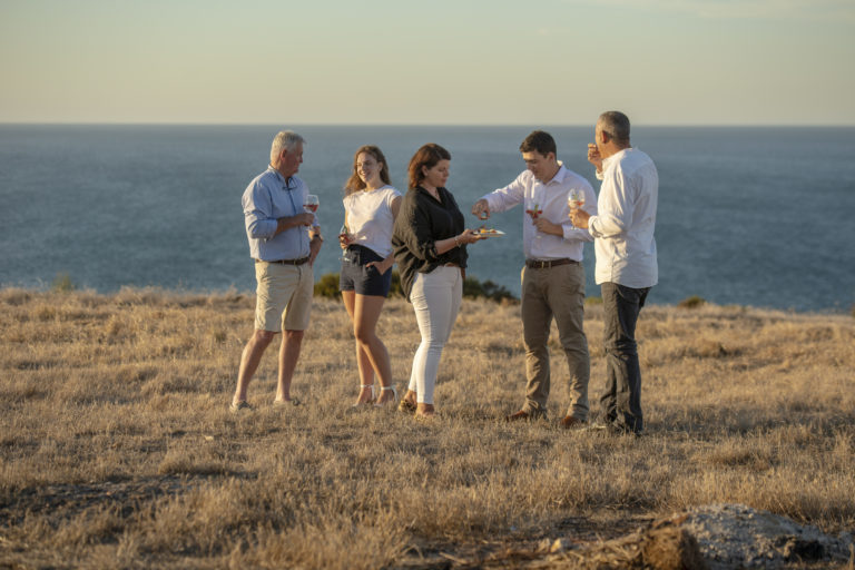Oceanview Eco Villas guests served a welcome drink and canapes at sunset on Kangaroo Island.