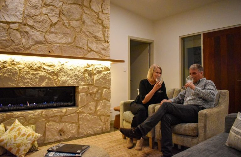 Oceanview Couple By Fire